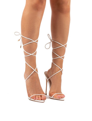 Lush White Lace Up Strappy Stiletto Heels