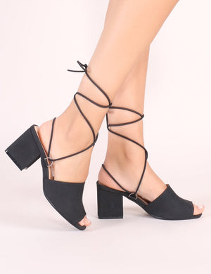 Paddington Lace Up Block Heeled Mules in Black