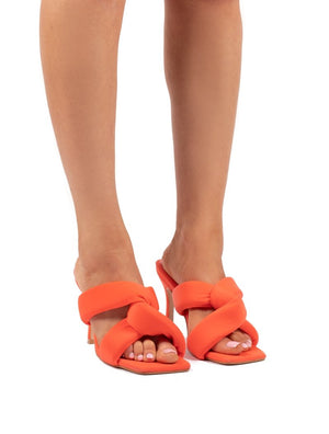 Peachy Coral Padded Twist Heels