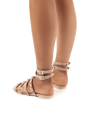 Publicity Wide Fit Nude Stud Detail Strappy Gladiator Flat Sandals