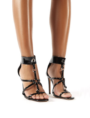Sahara Black Patent Strappy Stiletto Heels