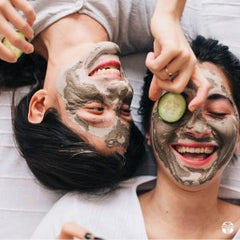 Happy Male and Female Face with Skincare product