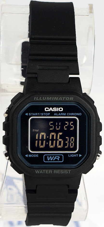Casio LA-20WH-1B Ladies Black Digital Watch with LED Light 5 Year Battery New