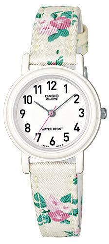 Casio Classic Ladies Analog White Floral Design Cloth Band Watch LQ-139LB-7B2 NEW