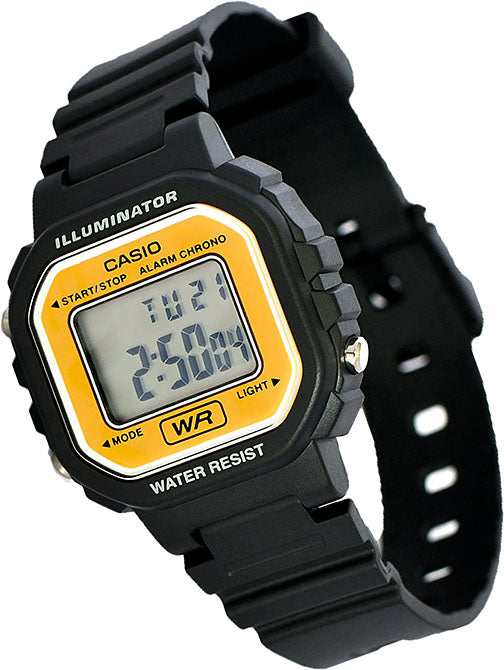 Casio LA-20WH-9A Ladies Black Gold Digital Watch with LED Light 5 Year Battery New