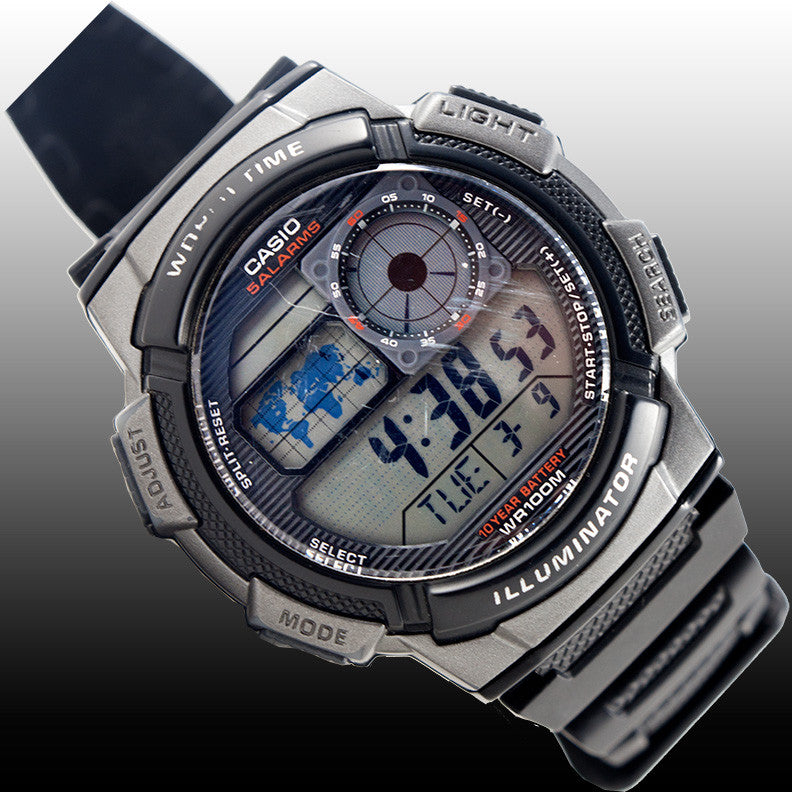 Casio World Map Watch.Casio Ae 1000w 1bv World Time Map 5 Alarms 10 Year Battery World Map