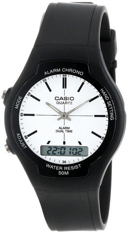 Casio AW-90H-7EV White Digital Watch Analog Gold 50M WR Stopwatch New