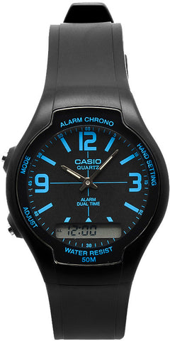 Casio AW-90H-2BV Black Blue Digital Watch Analog Gold 50M WR Stopwatch New