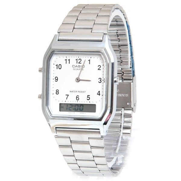 Casio AQ-230A-7B Mens Digital Watch Stainless Steel Analog Alarm White New