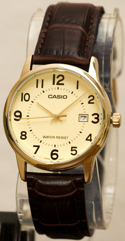 Casio MTP-V002GL-9B Mens Gold Analog Black Leather Band Watch New with Day and Date