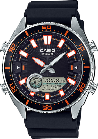 Casio AMW-720-1AV Analog Digital Tide Graph 50M WR Black Watch