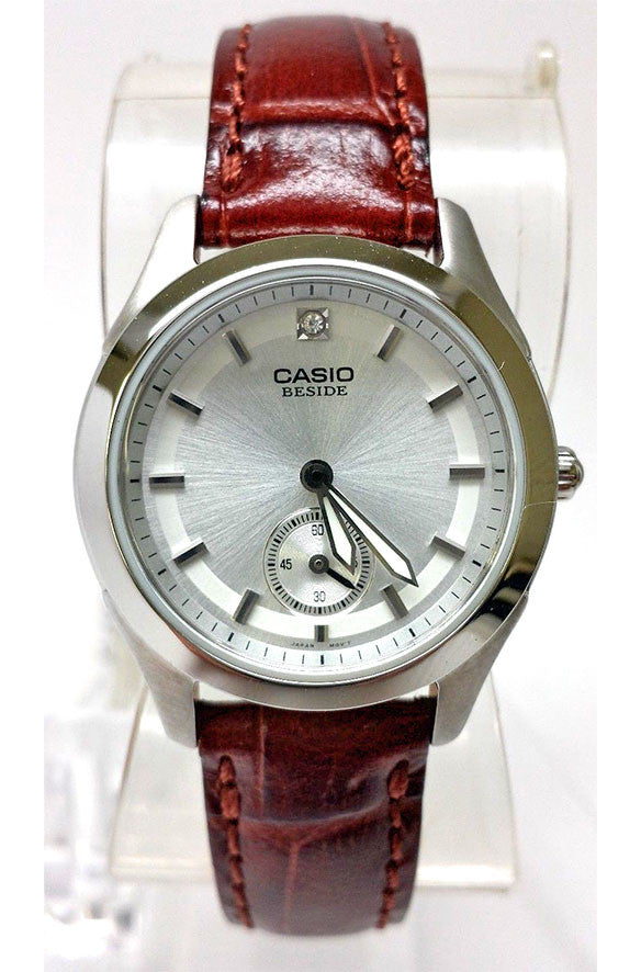 Casio BEL-115L-7A BESIDE Ladies White Dial Leather Strap Dress Watch 50M