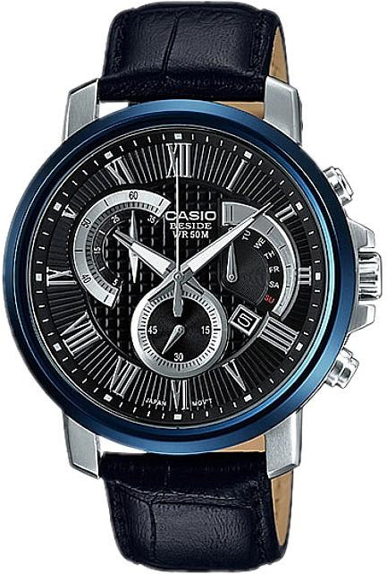 Casio BESIDE BEM-520BUL-1AV Men's Dress Chronograph Watch Black Leather
