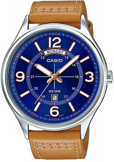 Casio Genuine MTP-E129L-2B2 Men's Leather Dress Watch Day/Date Display 50M WR