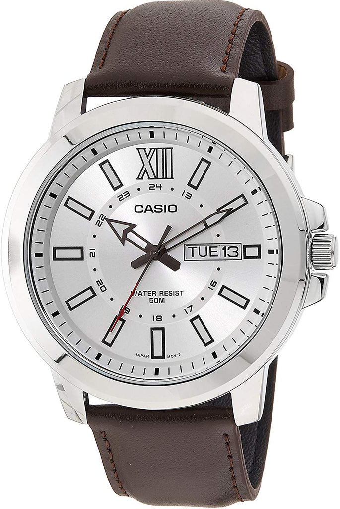 Casio MTP-X100L-7AV Men's XL 52mm Silver Analog Watch Brown Leather Date Date New