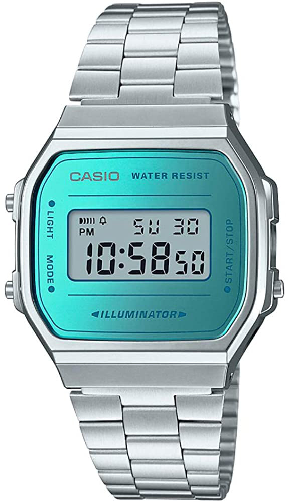 Casio A-168WEM-2CR Men's Digital Watch Stainless Steel Band Alarm Stopwatch New