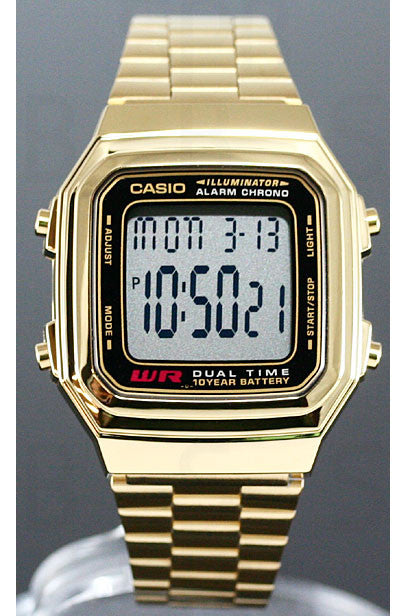Casio A-178WGA-1A Mens Gold Tone Stainless Steel Digital Watch Chronograph