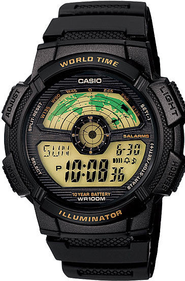 Casio AE-1100W-1BV Mens 100M LCD World Time Sports Watch 10 Year Battery Dual Time