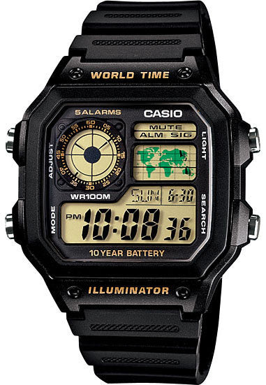 Casio AE-1200WH-1BV World Time 4 Time Zones 5 Alarms Watch