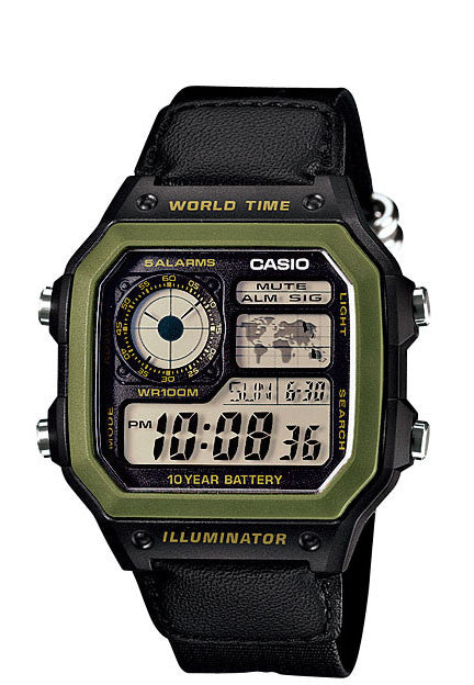 Casio AE-1200WHB-1BV World Time 4 Time Zones 5 Alarms Cloth Band Watch