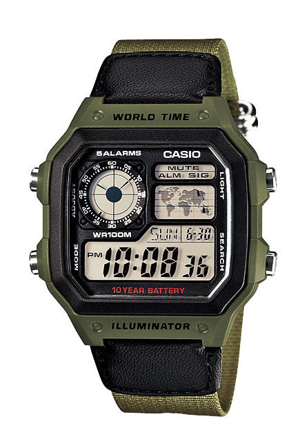 Casio AE-1200WHB-3BV World Time 4 Time Zones 5 Alarms Cloth Band Watch