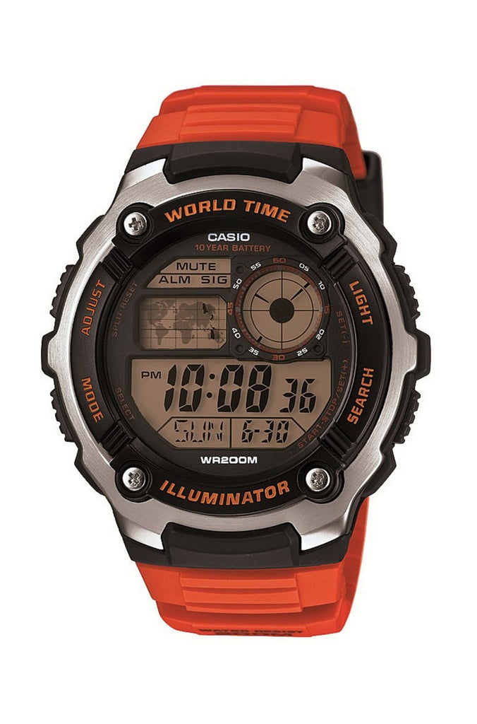 Casio Men's 200M WR 5 Alarms World Time 10 Year Battery Watch AE-2100W-4AV New