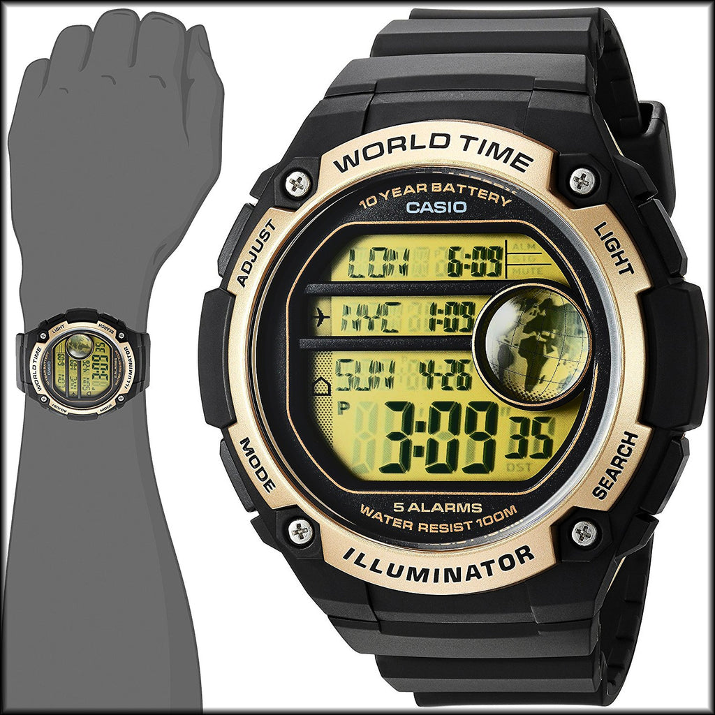 ec31c845343 Casio AE-3000W-9AV Black Gold Sports Watch - 48 City Time - 100M 10 Ye –  Great Watches