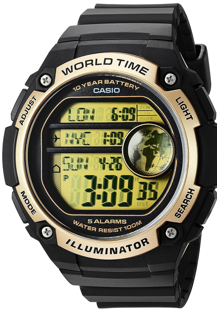 Casio AE-3000W-9AV Black Gold Sports Watch - 48 City Time - 100M 10 Year Battery