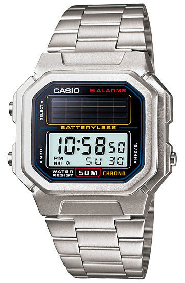 Casio AL-190WD-1A Mens BATTERYLESS Stainless Steel SOLAR Classic Sports Watch 5 ALARMS
