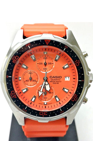 Casio AMW-380-4A Mens Orange Dial Chronograph 100M Diver Watch