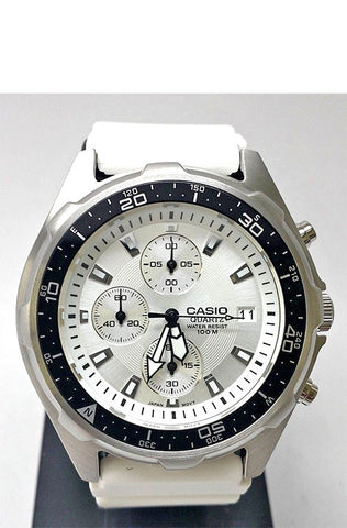 Casio AMW-380-7A Mens White Silver Dial Chronograph 100M Diver Watch
