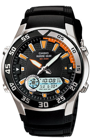 Casio AMW-710-1AV OUTGEAR Marine Gear Watch Moon Data Tide Graph