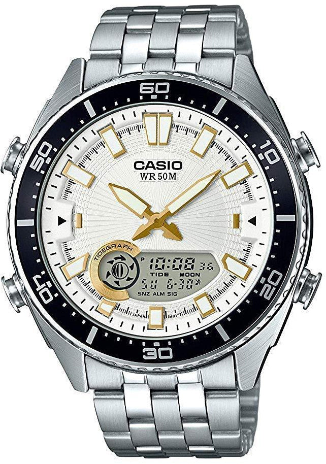 Casio AMW-720D-7AV Mens White Analogue Digital 50M Steel Watch Tide Graph New