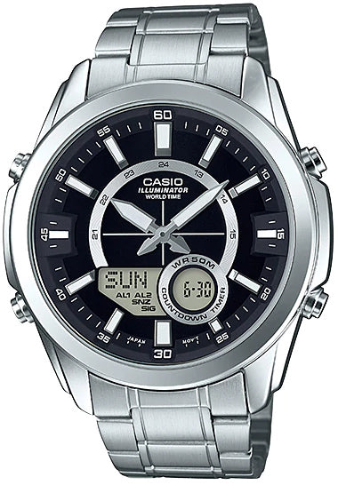 Casio AMW-810D-1A Men's Stainless Steel Watch, Analog Digital 50M WR, World Time
