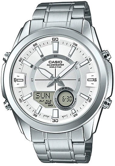 Casio AMW-810D-7AV Men's Stainless Steel Watch, Analog Digital 50M WR, World Time