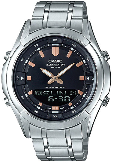 Casio AMW-840D-1AV Men's Stainless Steel Watch, 50M WR, 10 Year Battery World Time