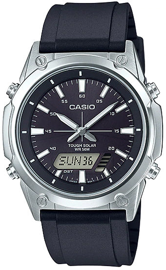 NEW Casio AMW-S820-1A Men's Tough SOLAR Watch Digital Analog BLACK Resin Band