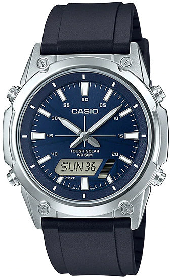 NEW Casio AMW-S820-2A Men's Tough SOLAR Watch Digital Analog Blue Resin Band