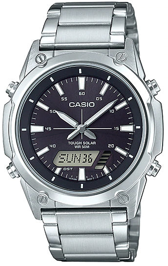 NEW Casio AMW-S820D-1A Men's Tough SOLAR Watch Digital Analog BLACK Steel Band