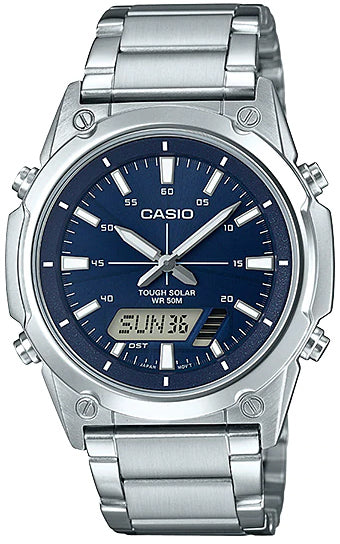 NEW Casio AMW-S820D-2A Men's Tough SOLAR Watch Digital Analog BLUE Steel Band