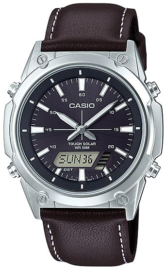 NEW Casio AMW-S820L-1A Men's Tough SOLAR Watch Digital Analog Brown Leather Band