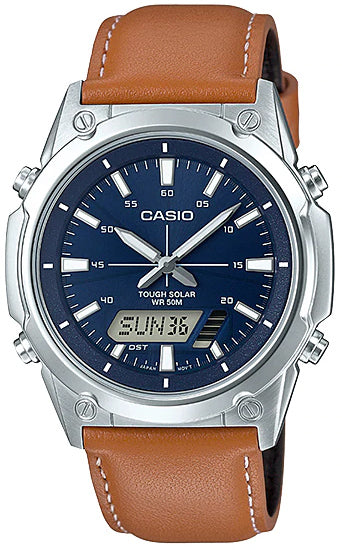 NEW Casio AMW-S820L-2A Men's Tough SOLAR Watch Digital Analog Brown Leather Band