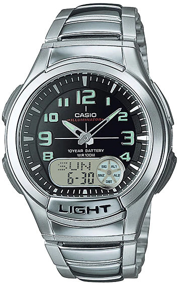 Casio AQ-180WD-1BV Mens Analog Digital Sports Databank Watch Steel LED World Time New
