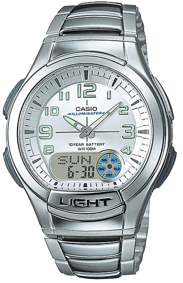 Casio AQ-180WD-7BV Mens Analog Digital Sports Databank Watch Steel LED World Time New