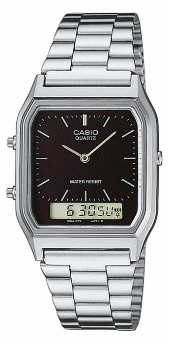 Casio AQ-230A-1D Mens Digital Watch Stainless Steel Analog Alarm Black New