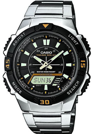 Casio AQ-S800WD-1EV SOLAR POWER World Time 5 Alarms LED Light 100m Steel Band Watch