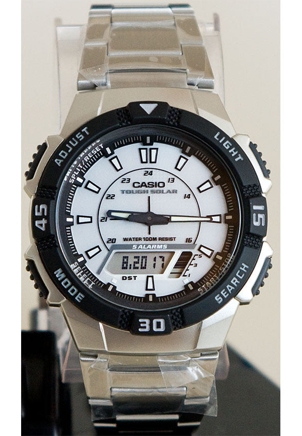 Casio AQ-S800WD-7EV SOLAR POWER World Time 5 Alarms LED Light 100m Steel Band Watch