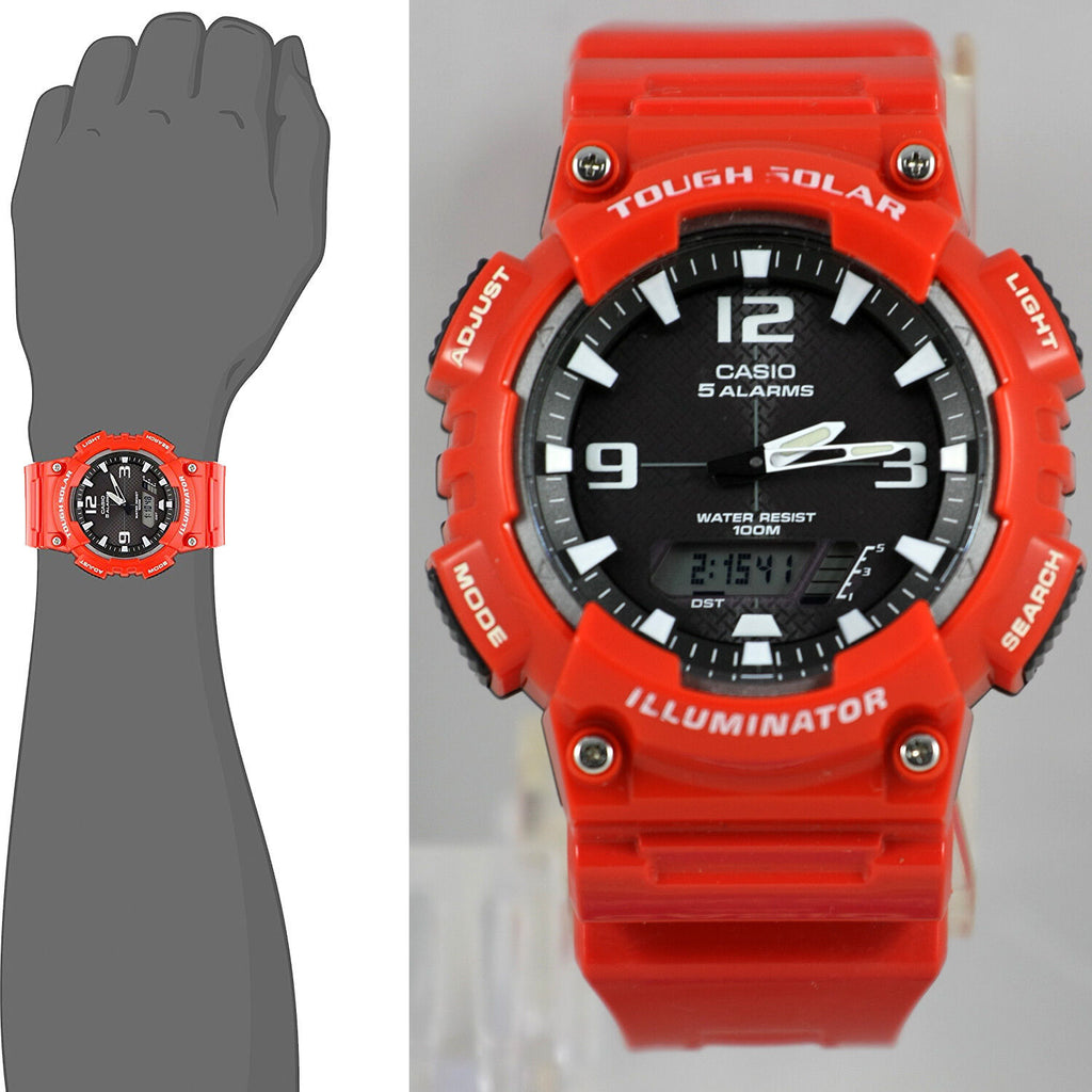 Casio AQ-S810WC-4AV SOLAR POWER World Time 5 Alarms Red Watch 100M WR