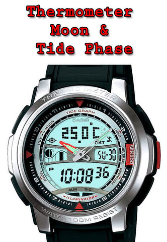 Casio AQF-100W-7BV Pathfinder Thermometer Moon and Tide Phase World Time 100M Watch