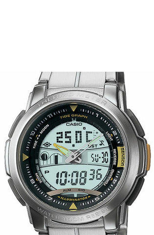 Casio AQF-100WD-9BV Pathfinder Thermometer Moon and Tide Phase Stainless Steel World Time 100M Watch